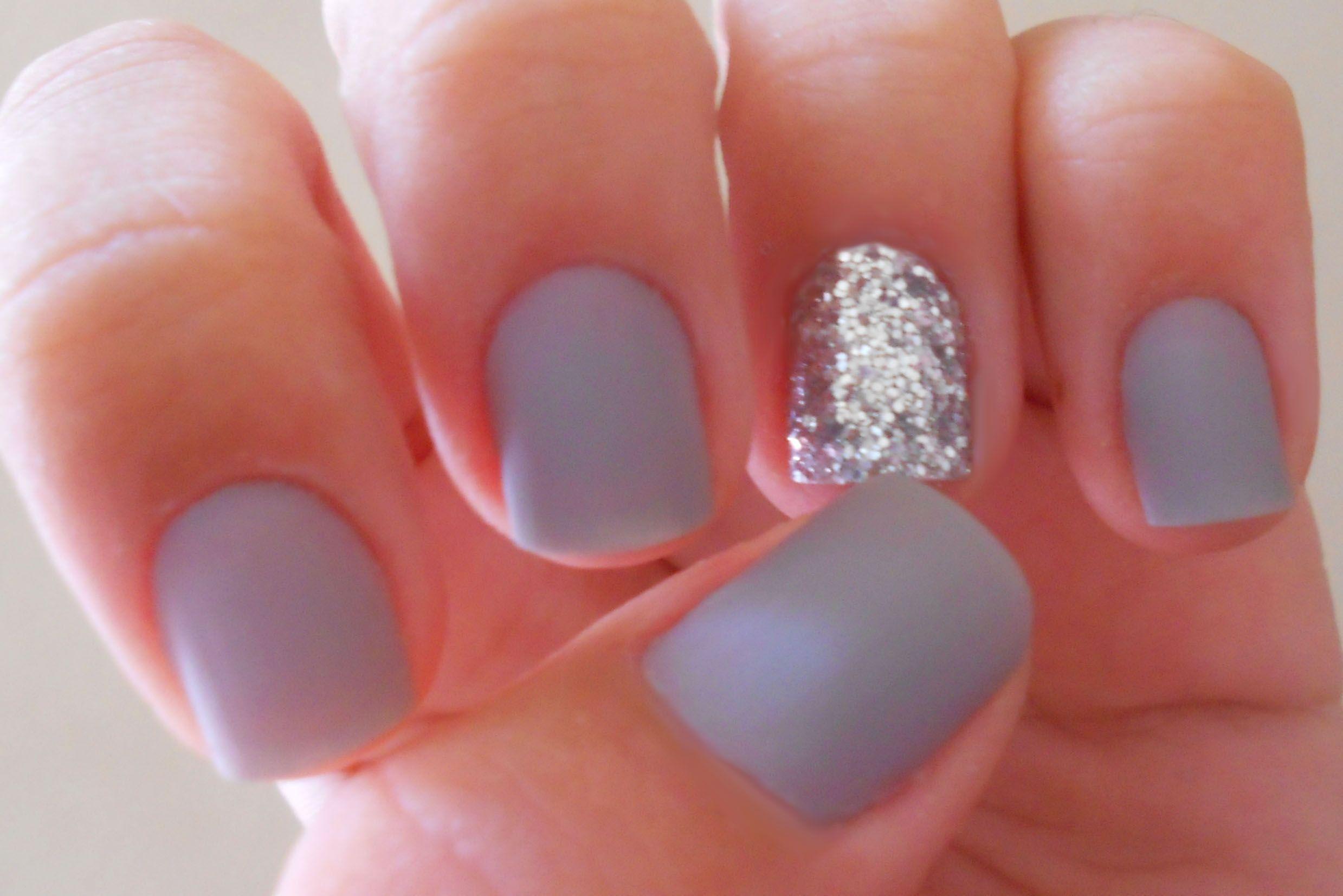Gray matte + glitter nails :)>>>>to get matt polish add cornstarch ...