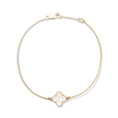 bracelet in cleef pearllarge alhambra with arpels gold amp cc of models pink lucky vca van pearl bangle p mother
