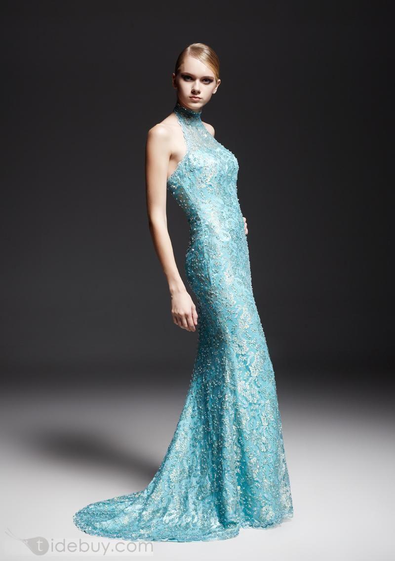 Encantador Vestido de Concurso Largo Tipo Sirena Cuello Alto (Envío ...