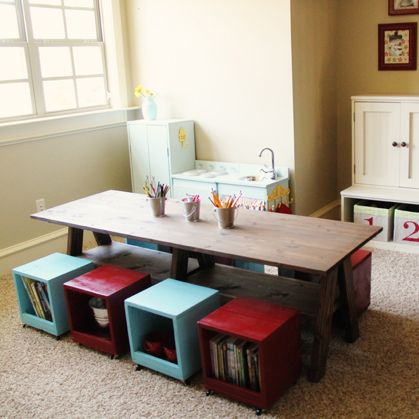 storage, table, seating and put the boxes together, for a bed with a cushion on top. same for the table