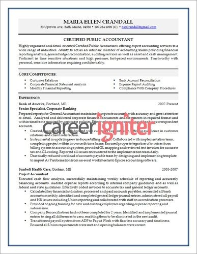 Accountant Resume Accounting Resume Sample  Resume  Pinterest