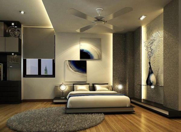 Glasbilder Schlafzimmer ~ Schlafzimmer wandgestaltung akzent beleuchtung indirekt abstrakte