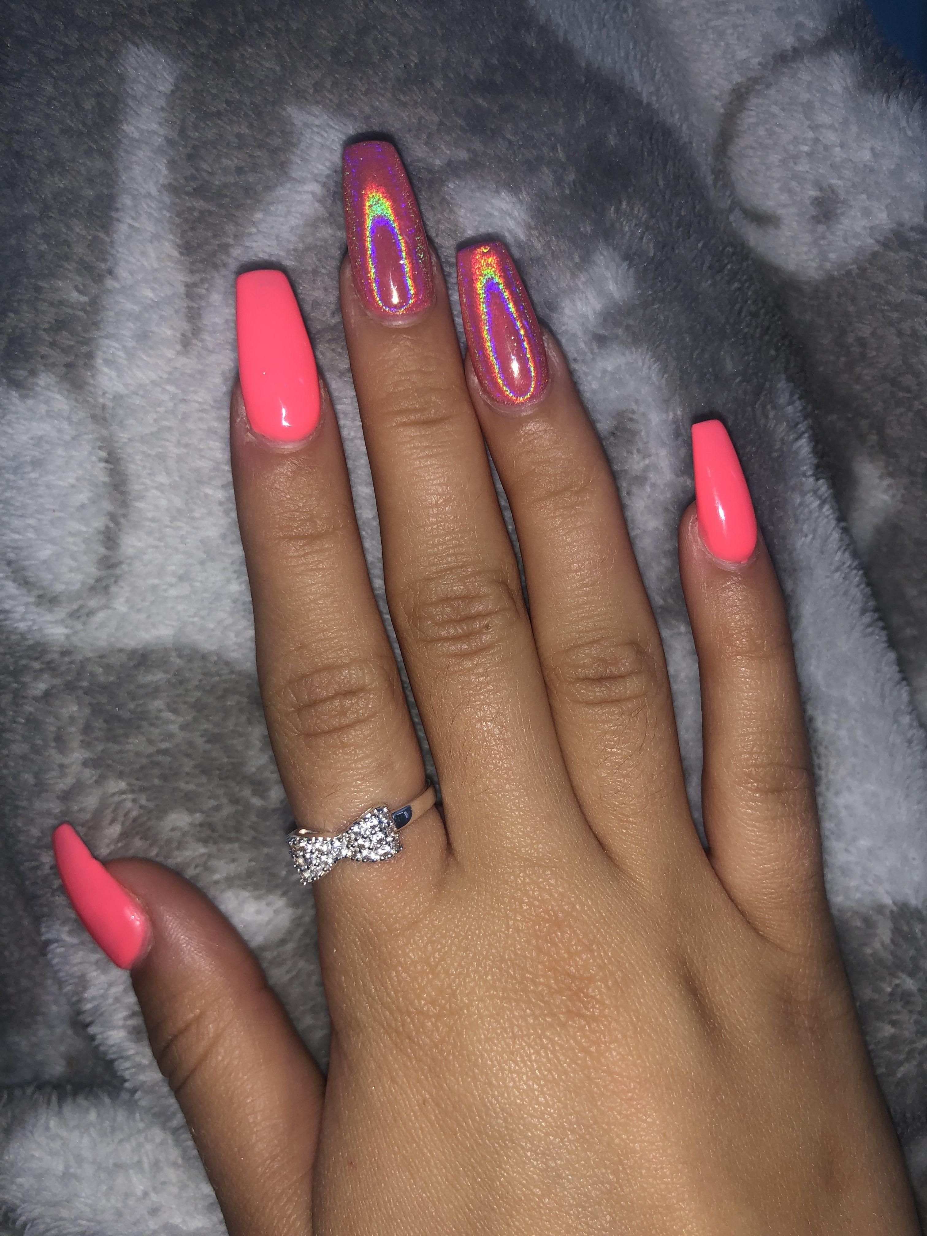 Holographic Nails Pink Acrylic Nails Acrylic Nails Coffin Pink Colored Acrylic Nails