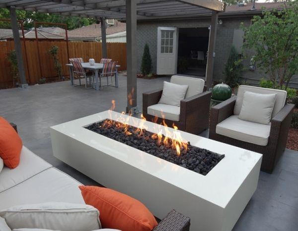 modern fire pit design rectangular shape stylish outdoor lounge area - Modern Fire Pit Design Rectangular Shape Stylish Outdoor Lounge Area