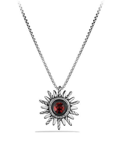David Yurman Starburst Pendant with Garnet on Chain
