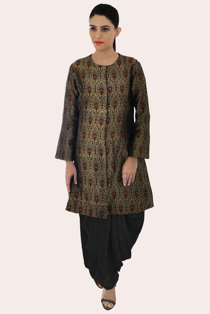 Black-Gold Banarasi Jamawar Handwoven Pure Brocade Silk Jacket