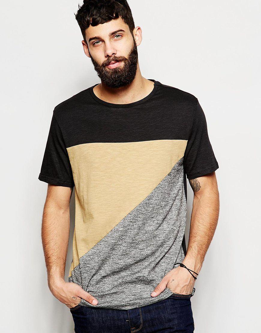 e41eb4eb7 River Island Block Color Cut and Sew T-Shirt | Asos | T-shirt men ...