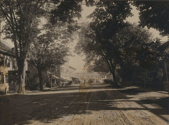 Downtown Street Scene WOODSTOCK Vermont 1890 -1900  original vintage photograph at CrwowCreekUnique
