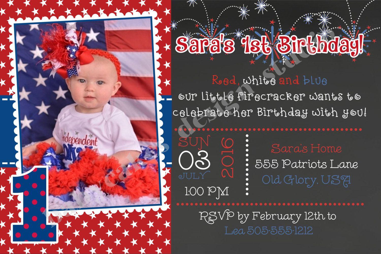 4th Of July Birthday Invitation Invite 1st Bir
