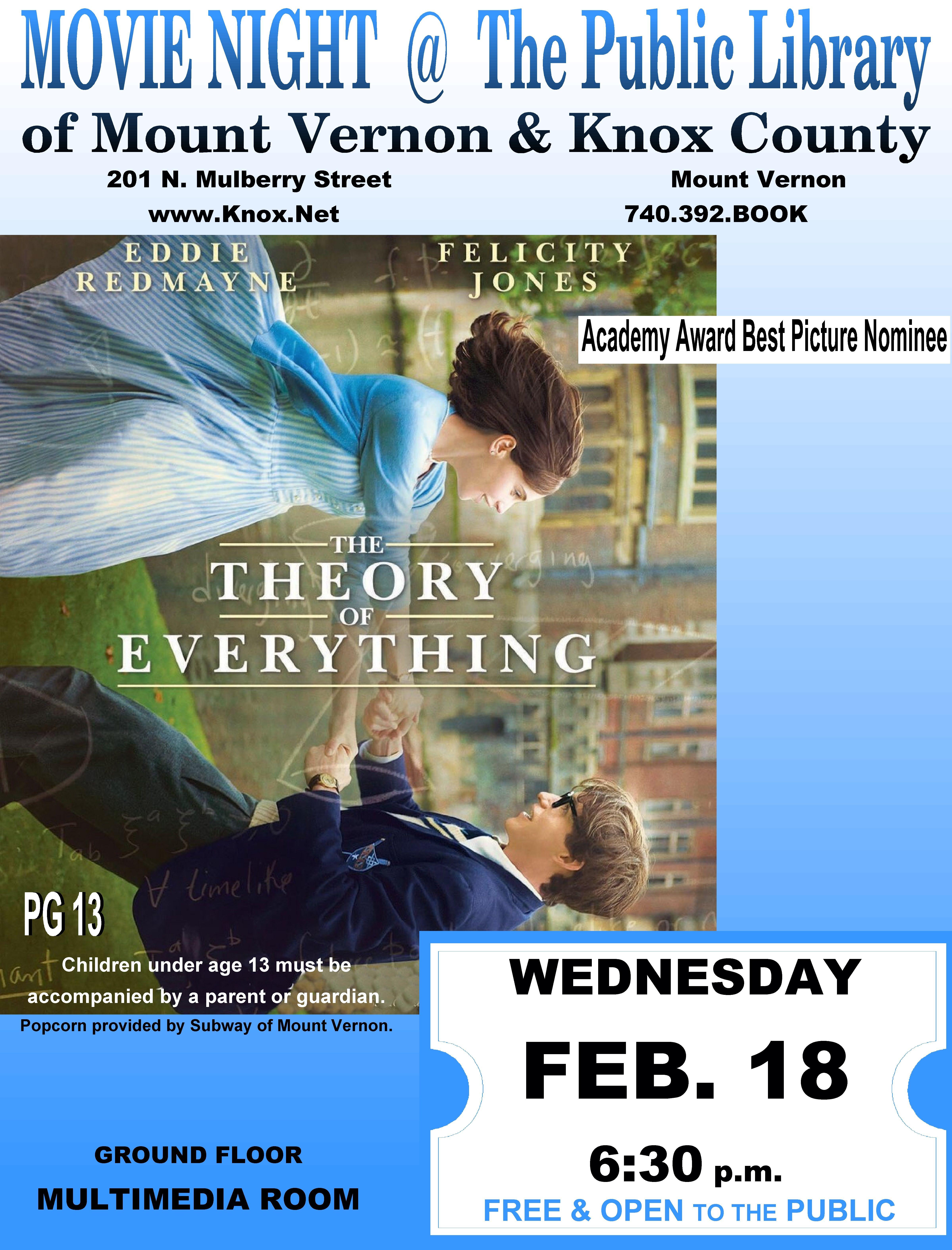 Movie Night @PLMVKC- The Theory of Everything