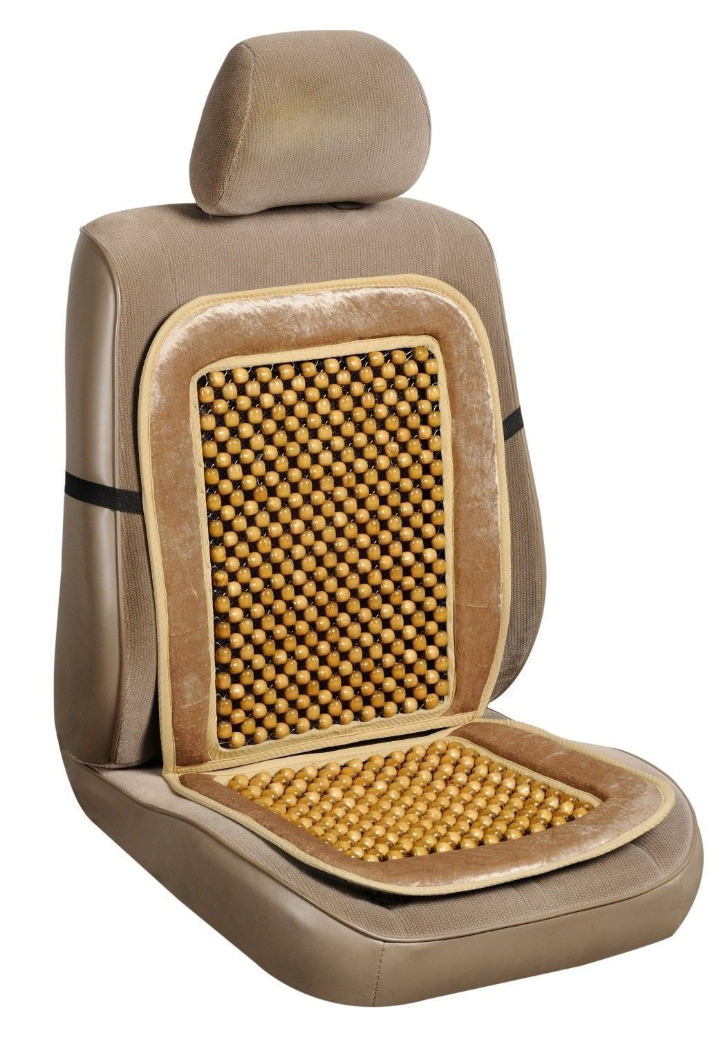WOODEN BEADSUniversal Beige Wooden Beaded Seat Massage Cushion Car Cover
