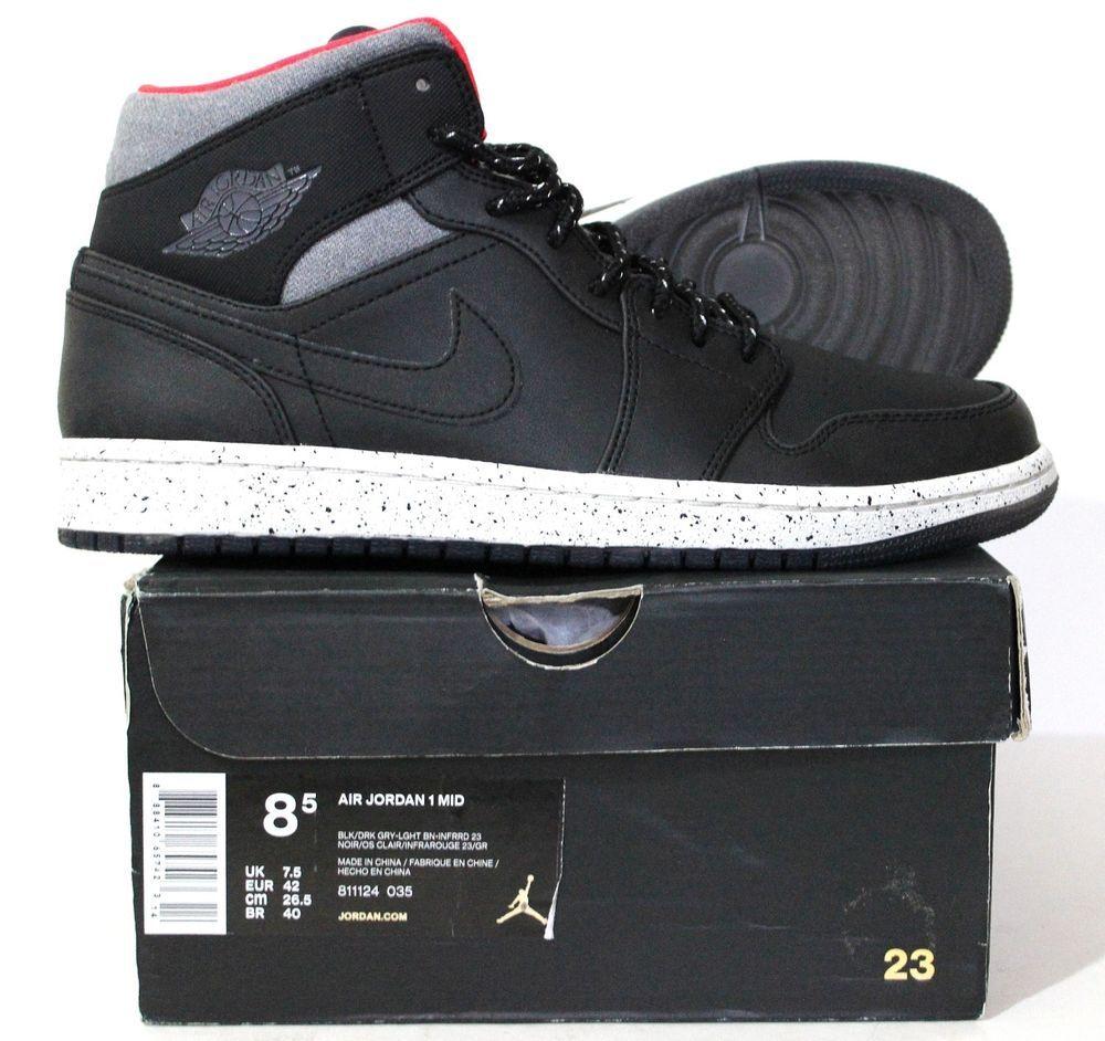 a7a8530840c2 Nike Men s Air Jordan 1 Mid Basketball Shoes 811124 035 Black Grey Size 8.5…