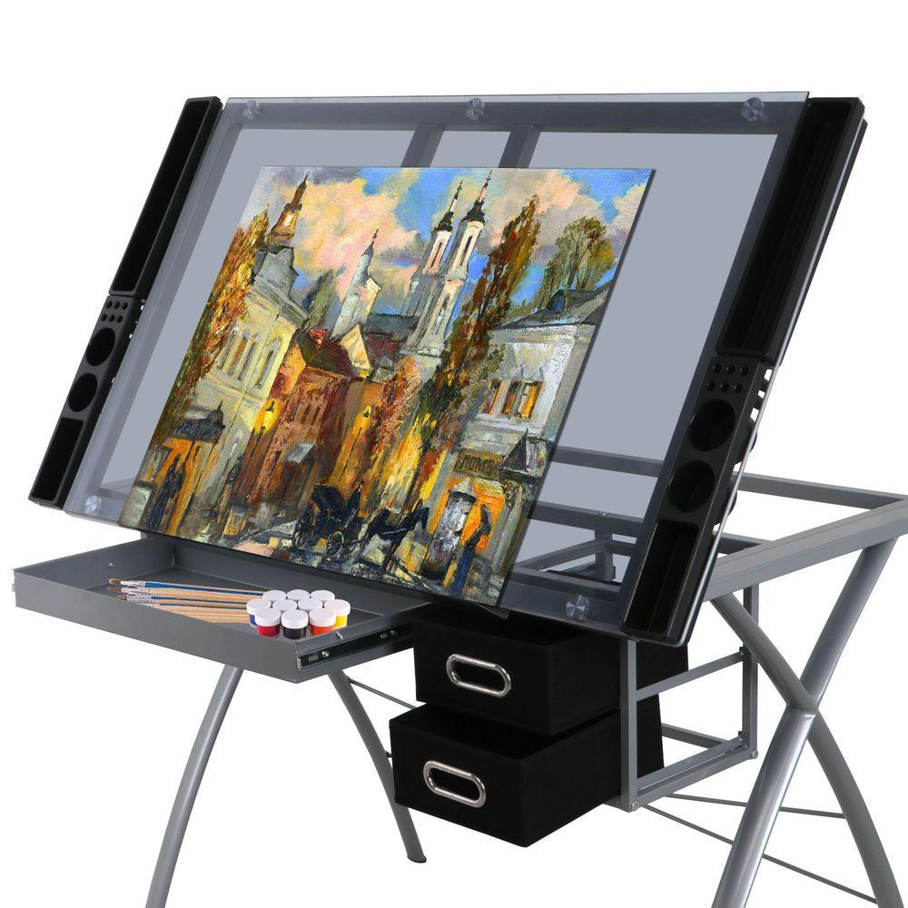 Glass Top Art Desk Station Tempered Glass Adjustable ...