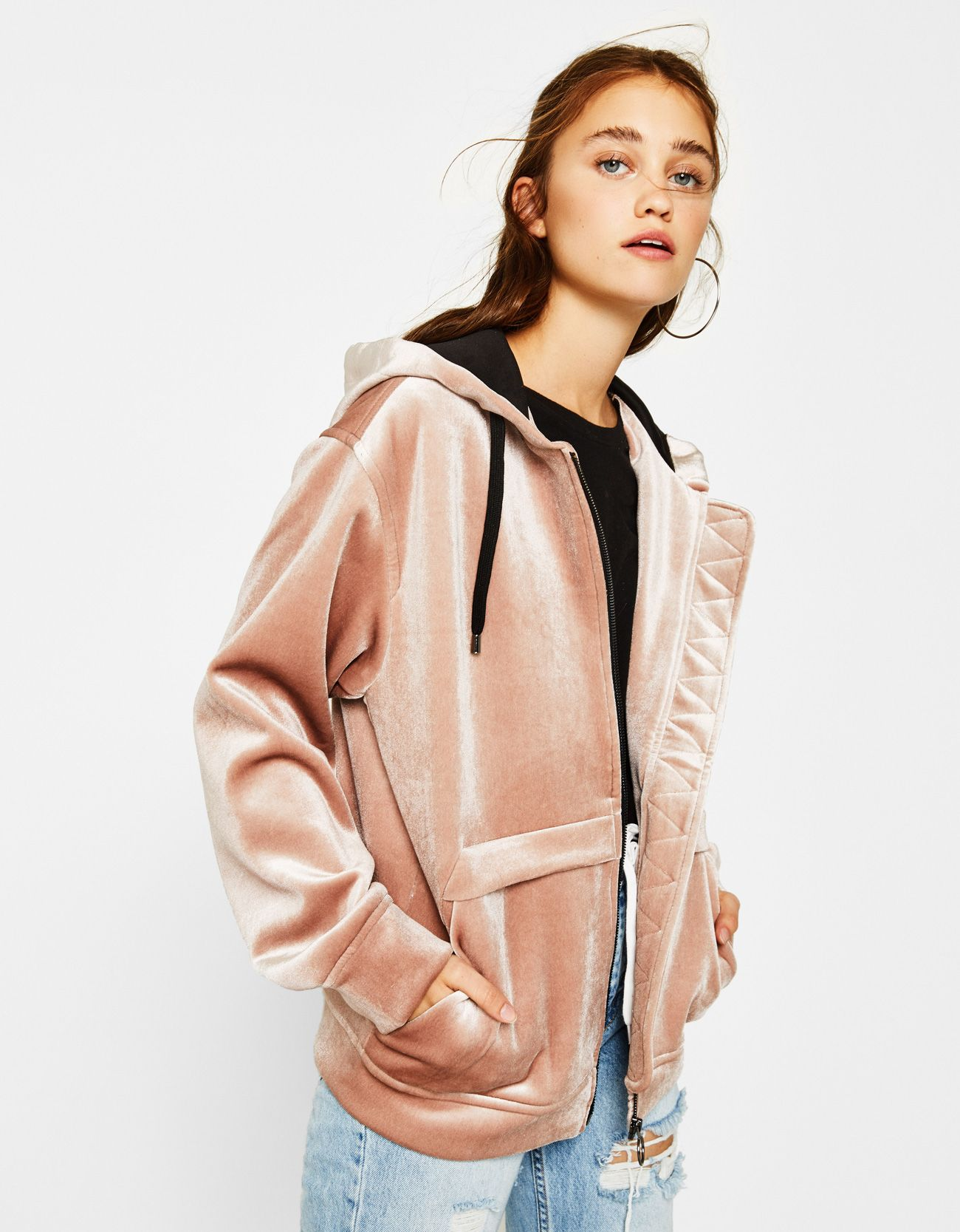 2663d2fc0702 Velvet hoodie. Discover this and many more items in Bershka with new  products every week