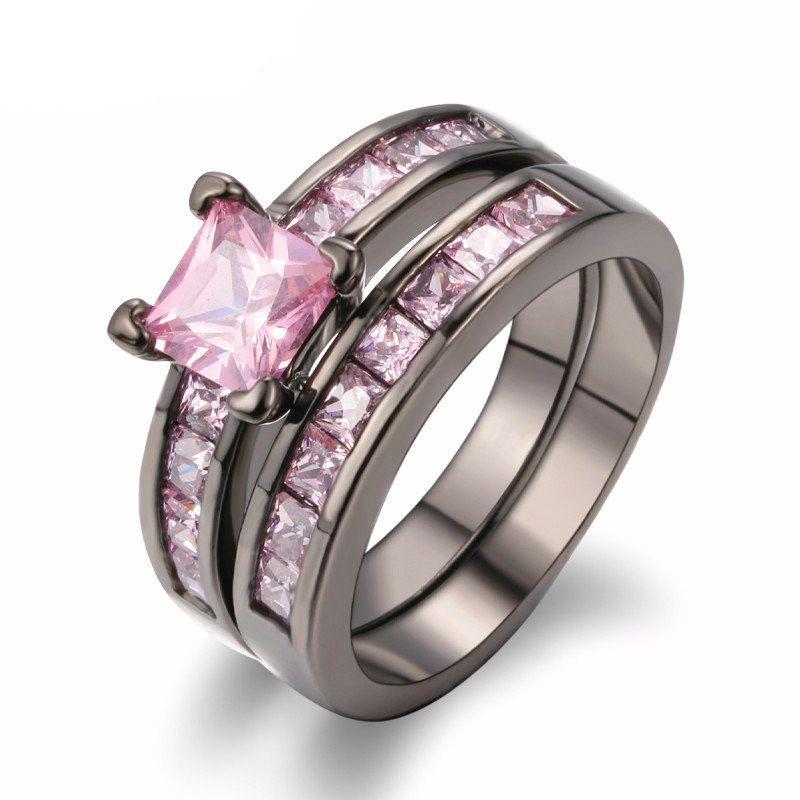 Pink Stone Luxury Black Gold Ring Pink Diamond Engagement Ring