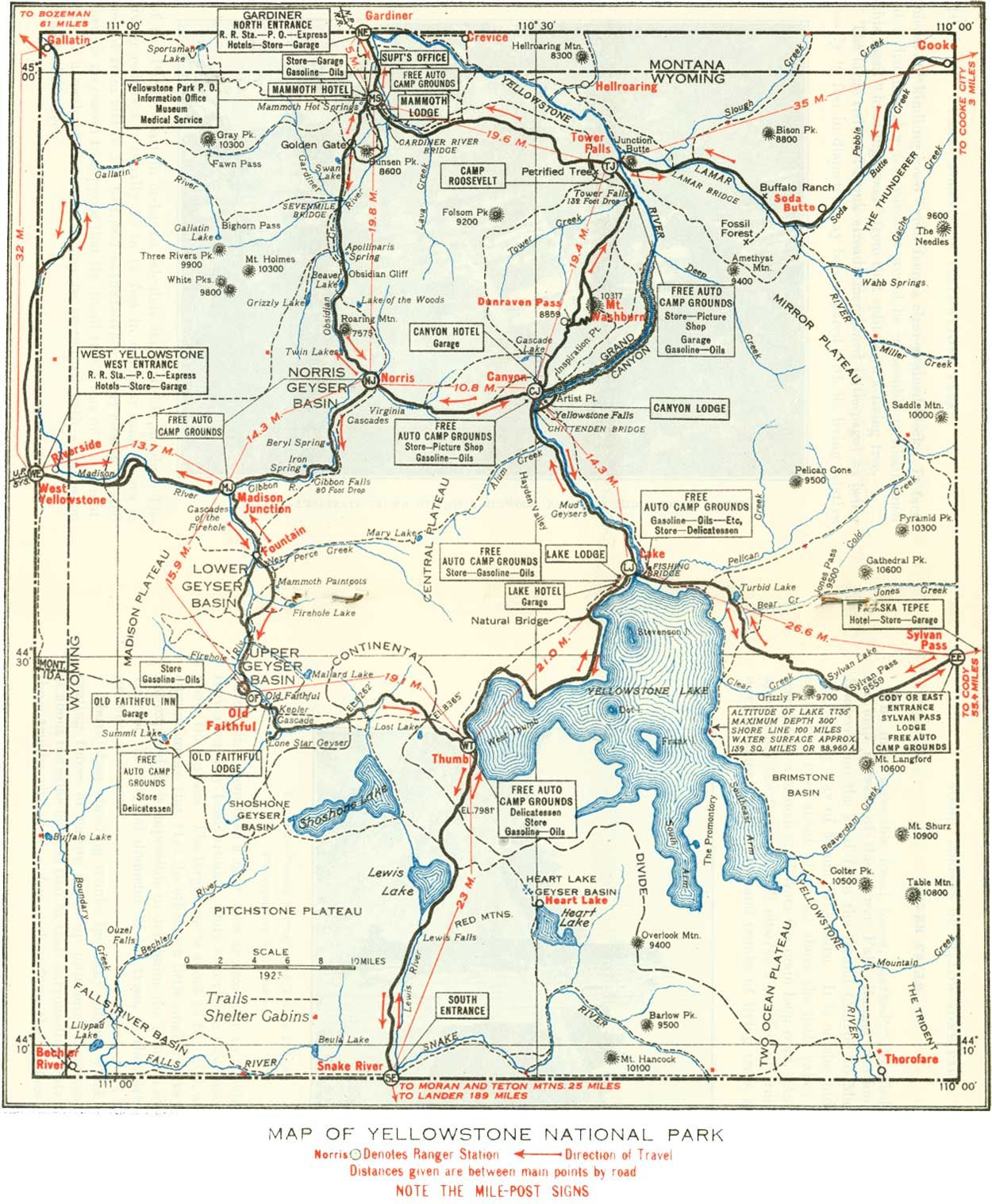 Map of Yellowstone National Park Maps Pinterest Yellowstone