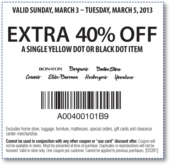 extra 40 off a single yellow or black dot item today at carsons bon ton sister stores coupon via the coupons app