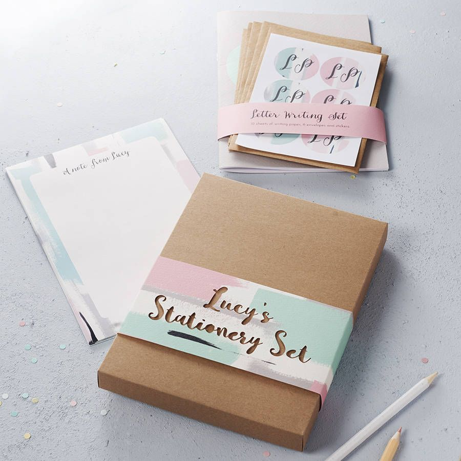 Writing Set: Pack of Stationery for Girls with Kittens Personalised Note Cards Camp School Stationery Personalised Gift Writing Gift.