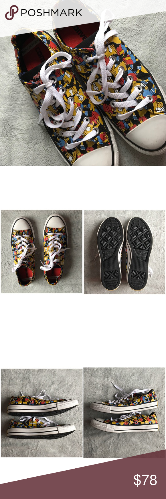 97987e29e3f5 Converse The Simpsons Chuck Taylor Bart Sneakers Great used condition.  Low-top sneakers by Converse x The Simpsons in black with amazing allover  red