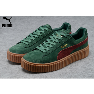 ec509beb1933 Men s Women s Fenty Puma by Rihanna Suede Creepers Shoes Green Burgundy