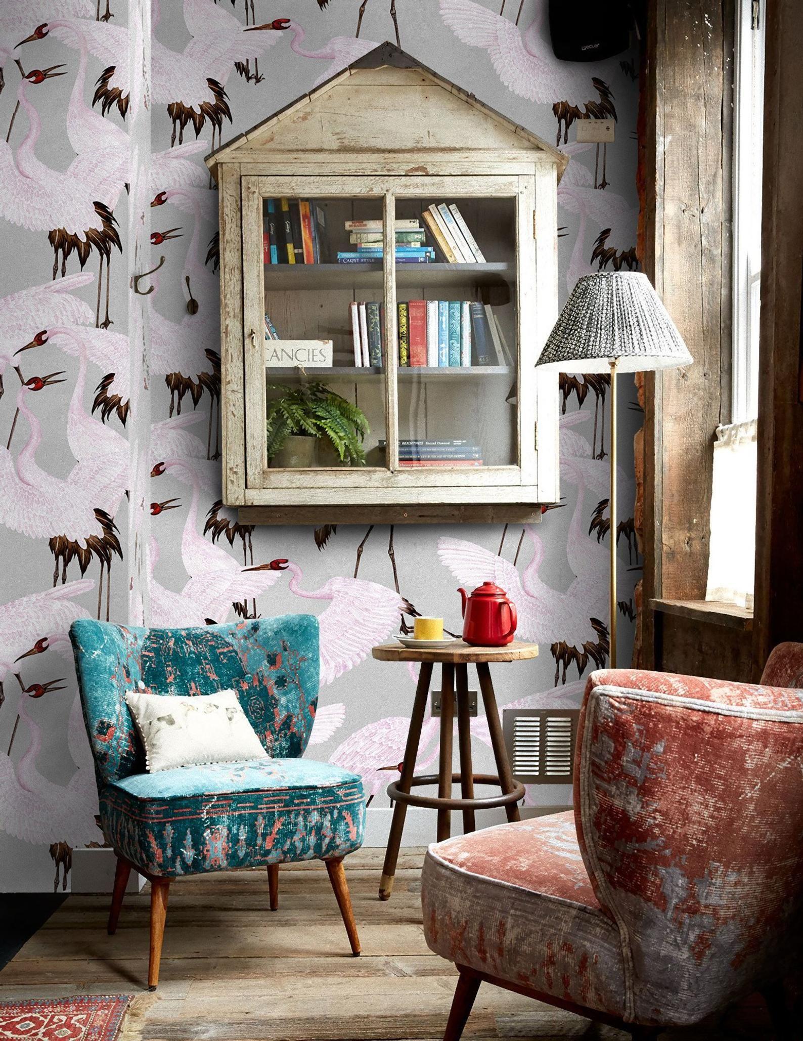 Heron print wallpaper, Gucci Wallpaper, Chinoiserie
