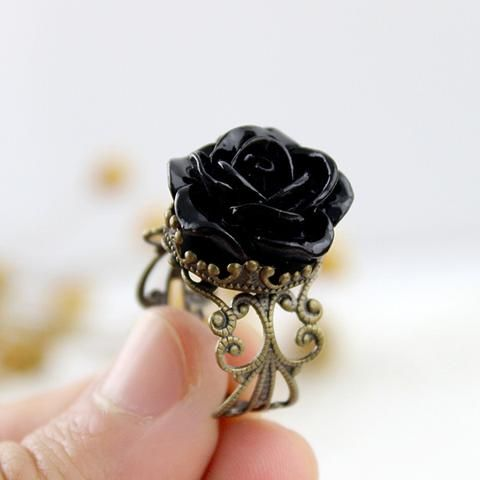 """CLICK """"ADD TO CART"""" TO GET YOURS!  Vintage Gothic Black Rose Size Adjustable Ring      One size fits most finger size. Light Weight and Easy To Wear, you will almost forget its on!! Cute Rose Ring! Not many people have a ring like this! Band is Adjustable and moveable to anyone. This is just a fun ring!!! Fits any hand very flexible!!   ** WE SHIP WITH A USPS TRACKING NUMBER - GUARANTEED DELIVERY! ** SECURE CHECKOUT WITH VISA/MASTERCARD/AMEX/PAYPAL"""