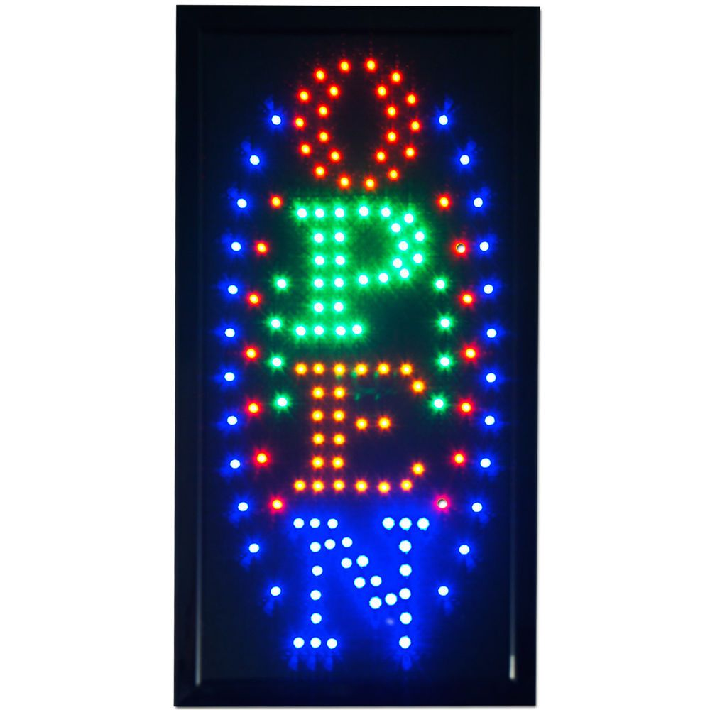 Vertical Letters Open Sign for Business Size 19x10 inch Vertical Flashing LED Open Sign