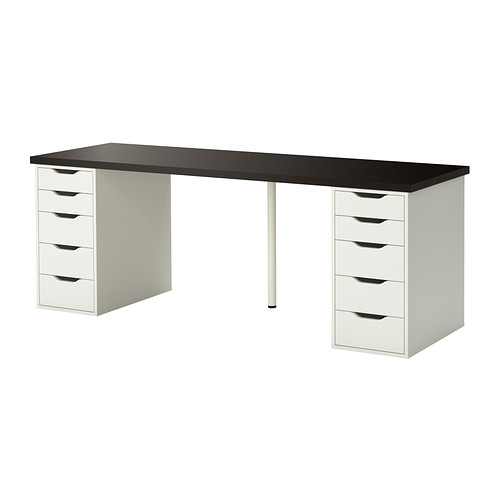 LINNMON / ALEX Table, Black Brown, White