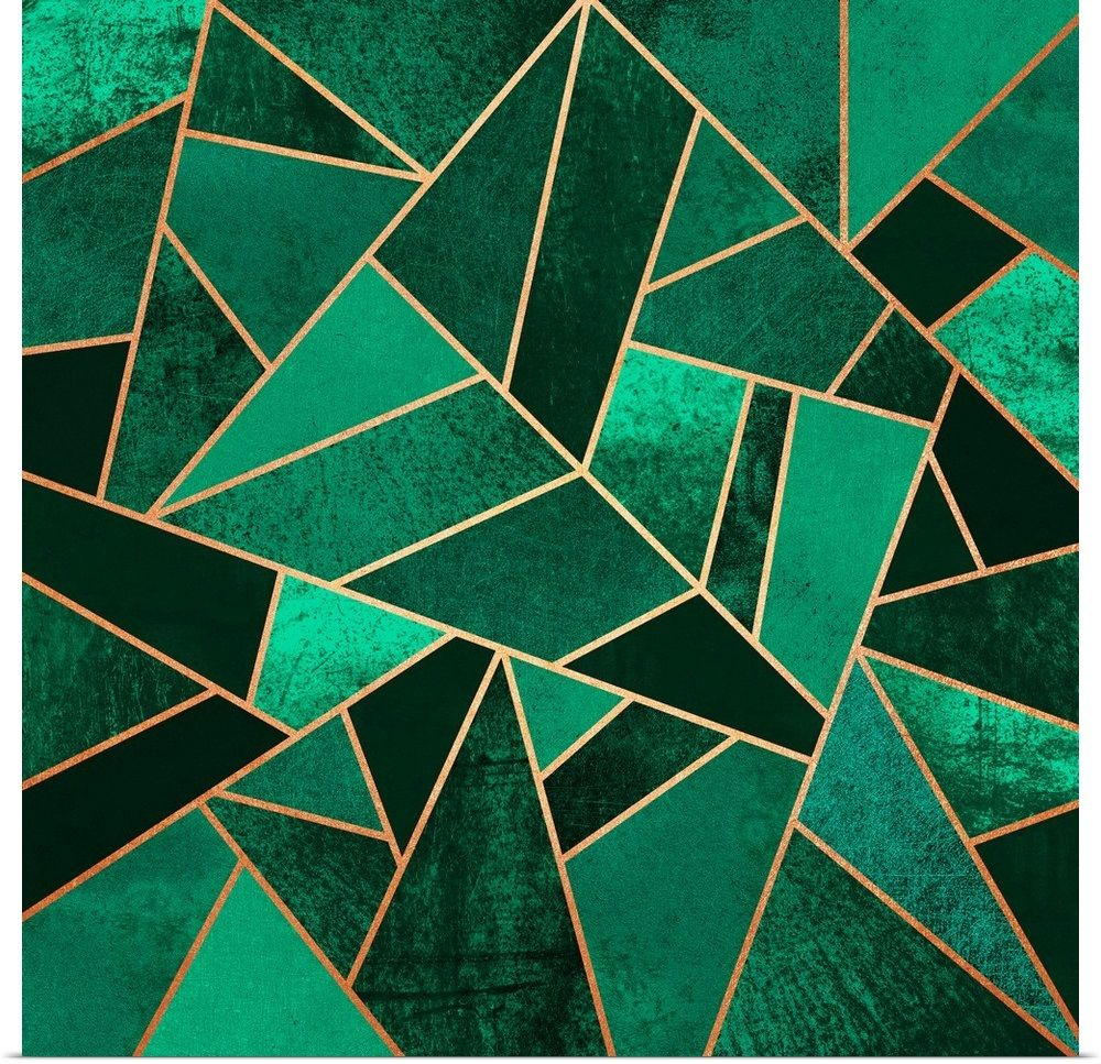 Emerald and copper Geometric art, Abstract, Art