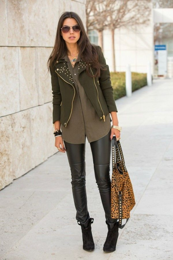 Women's Olive Biker Jacket, Brown Button Down Blouse, Black ...
