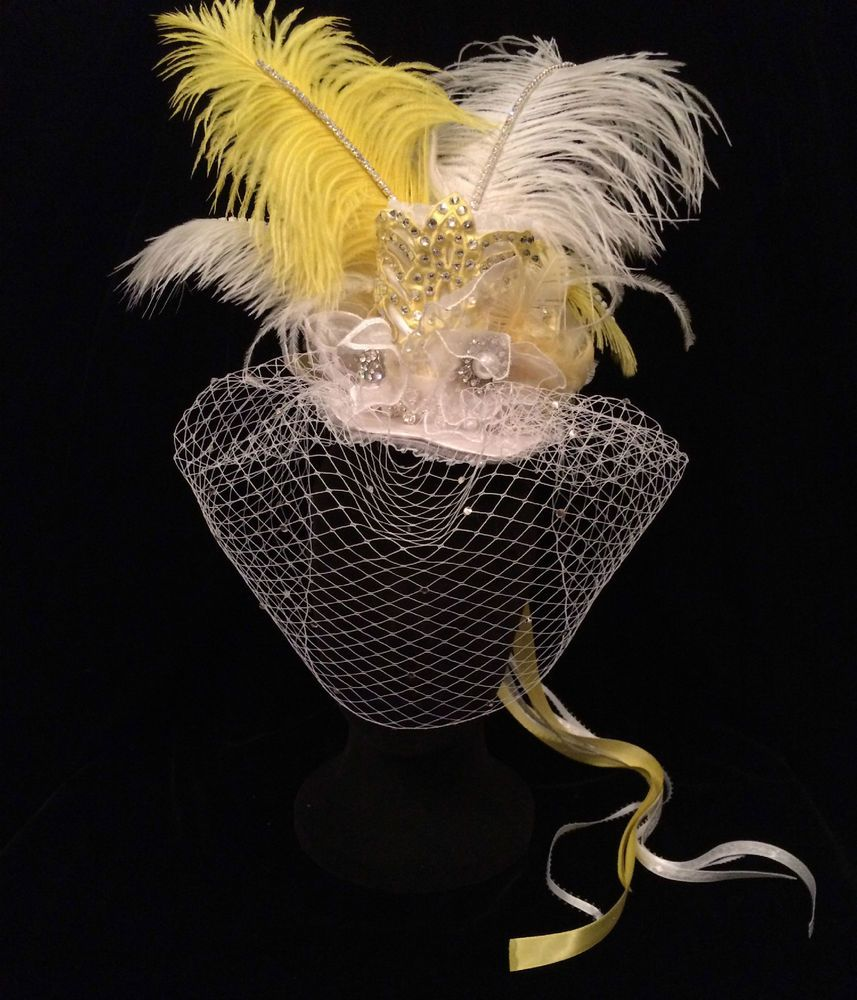 White and Yellow Mini Top Hat. Burlesque Cabaret Vintage fascinator Costume #EmpireMiniTopHats #TopHat
