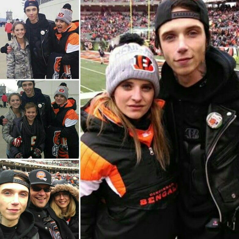 Andy Biersack ~ with his family and fans at  Bengals game