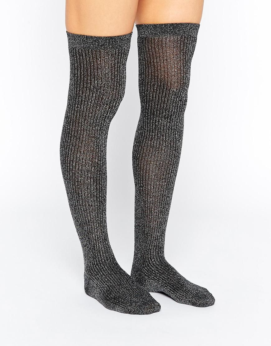 DESIGN over the knee socks - Grey Asos Outlet 100% Authentic Clearance Cheap Real Limited Edition Cheap Price slkp5Gt