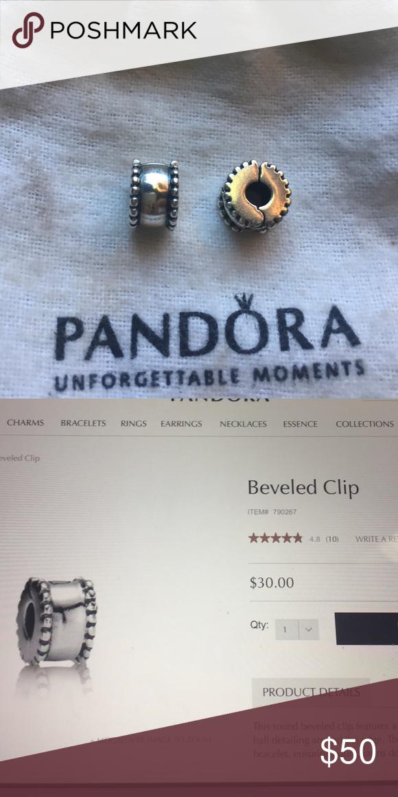 Authentic Pandora Beveled Clips 2 Sterling Silver Bands Pandora Pandora Silver