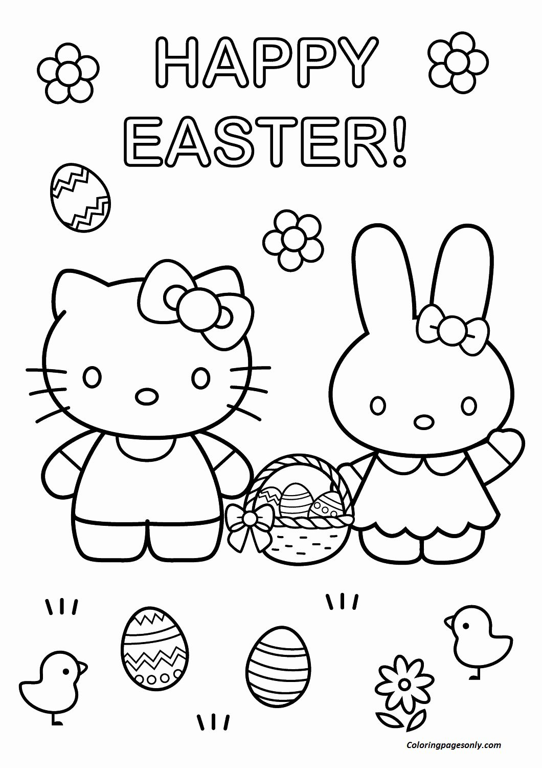 Coloring Flowers Hello Kitty Unique Hello Kitty With Easter Bunny