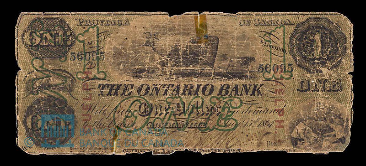Ontario Bank Dollar, 1861 - Image courtesy of the Bank of Canada | #banknote #money