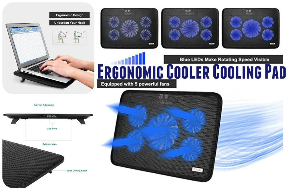 Ergonomic Cooler Cooling Pad For Laptop With 5 Usb Powered Fans