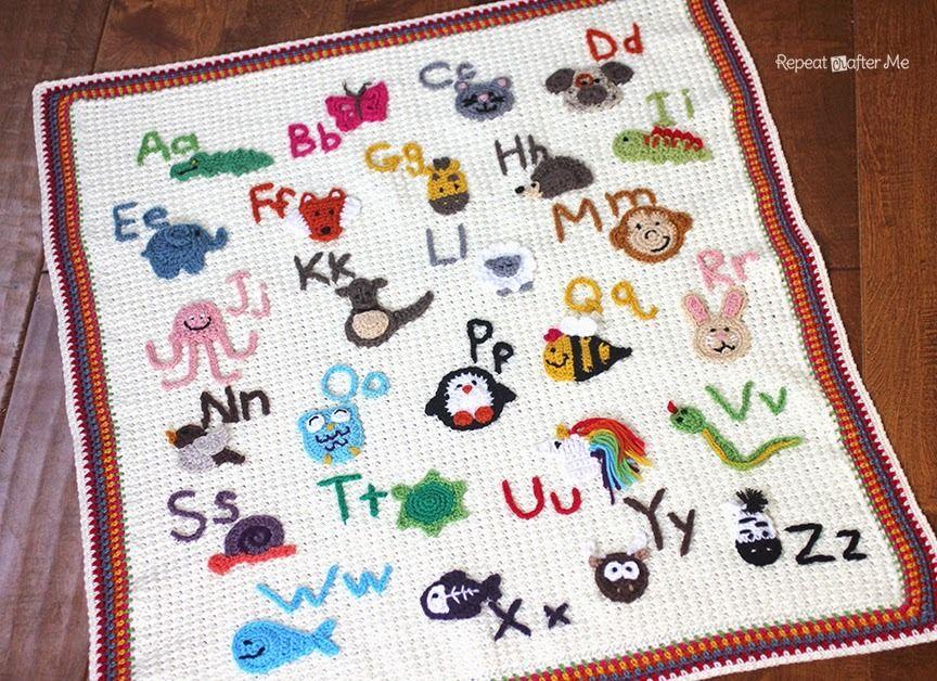 Animal Alphabet Crochet Afghan | Colchas, Manta y Tejido