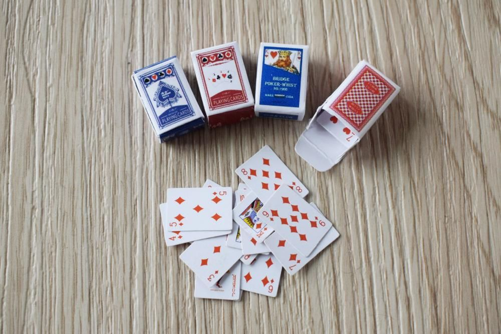 Miniature playing cards set 4 boxes and 2 card decks
