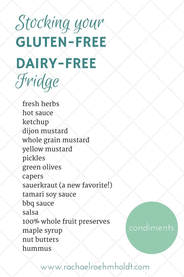 Stocking Your Fridge For A Gluten Free Dairy Free Diet Gluten Free Dairy Free Dairy Free Diet Free Grocery List