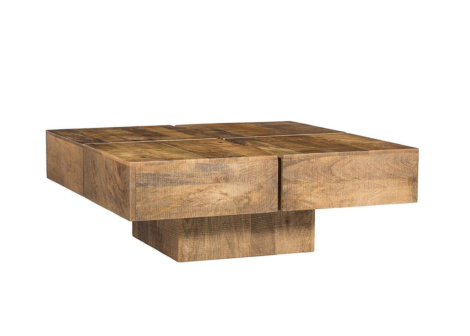 Woodkings® Couchtisch Amberley 80x80cm, Holz Mango natural rustic ...
