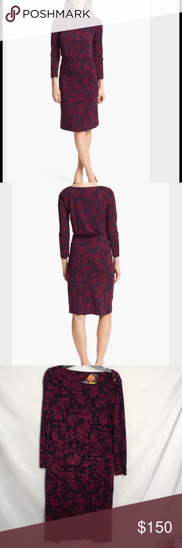 #126 Tory Burch dress 🐥💛 Tory Burch Etta print blouson dress Tory Burch Dresses Midi