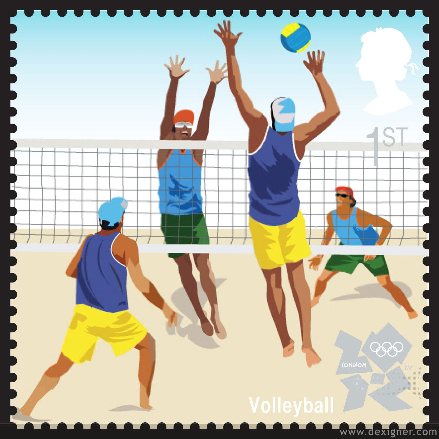 Third Series Of London 2012 Olympic Stamps By Studio David Hillman Con Imagenes Volleyball De Playa Estampilla Postal Sellos