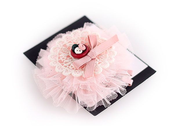 pink tulle bow hairclip