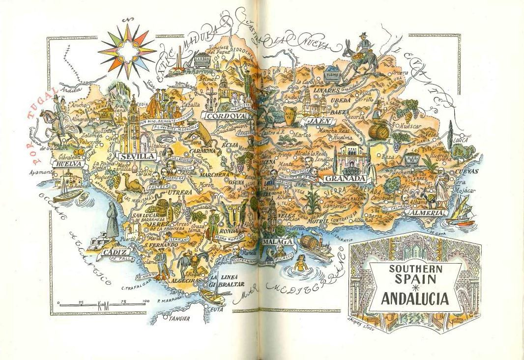 Southern Spain Map / Andalusia Spain / Old Map Book Illustration ...