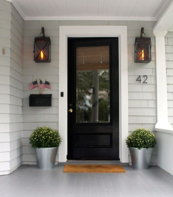 Superbe Storm Doors For Front Entrance Beside Wrought Iron Sconces Adhered By Vinyl  Shake Shingles Above Coconut Fiber Doormat Over Wood Porch Decking Also  Half ...