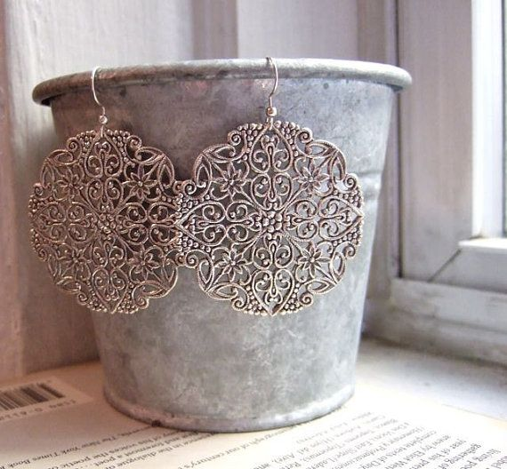 Chandelier earrings. Big silver earrings. Vintage fiigree