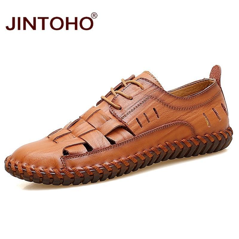JINTOHO Brand Men Leather Shoes Genuine Leather Male Shoes