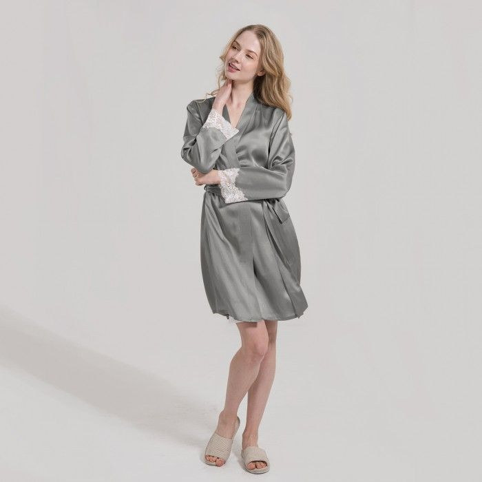 Ladies Short Lace Trim Silk Robe Dressing Gown Silk Sleepwear