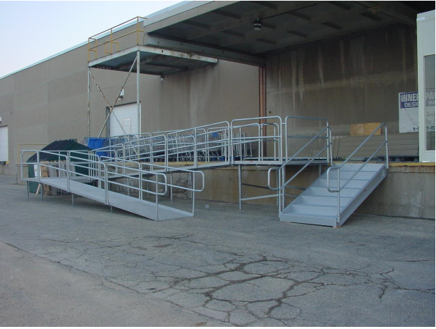 Disability Portable Handrails : Aluminum sectional ramp with double bar handrails and ada